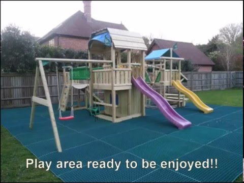 Jungle Gym climbing frames being installed with safety rubber mats