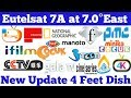 Eutelsat 7A at 7.0°East New Update | Hollywood Movies | Cartoon Channels | DD Free Dish