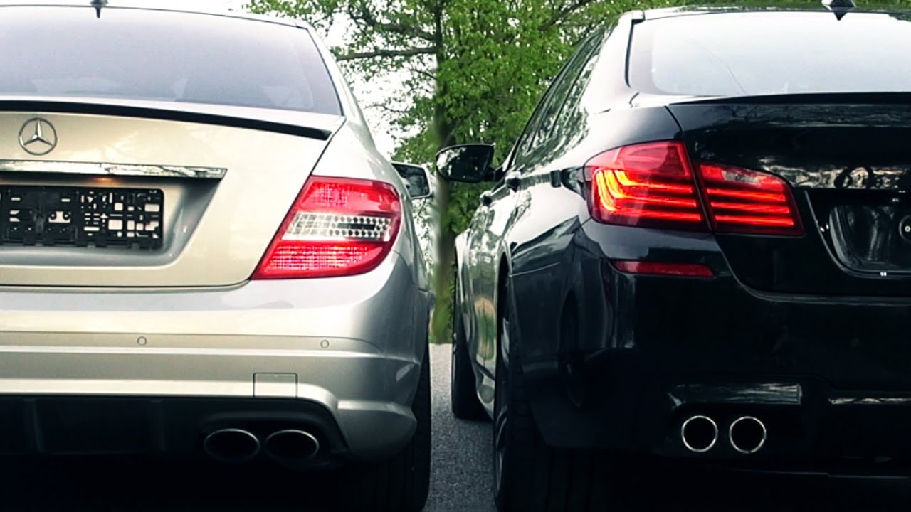 bmw m5 f10 vs mercedes c63 amg sound battle 6,2l v8 vs 4,4 biturbo