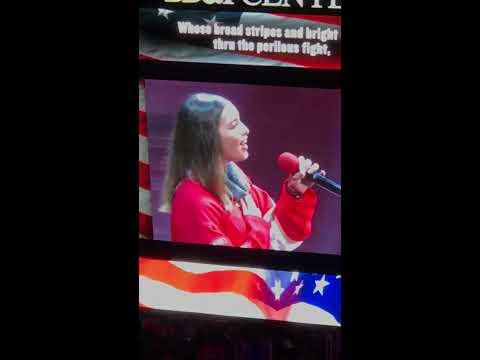 Tatiana Balan Sings The National Anthem at the Florida Panthers' Centennial  Celebration of the NHL