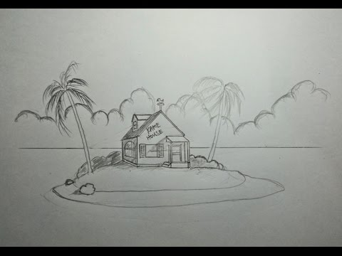 How to draw Dragon Ball Kame House using Perspective