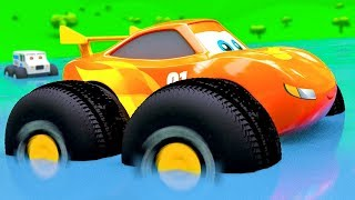 Cars In Water on Giant Wheels - New Funny Cartoon Stories from City of Little Cars