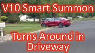Tesla V10 Smart Summon Turns Around in my Neighbors Driveway