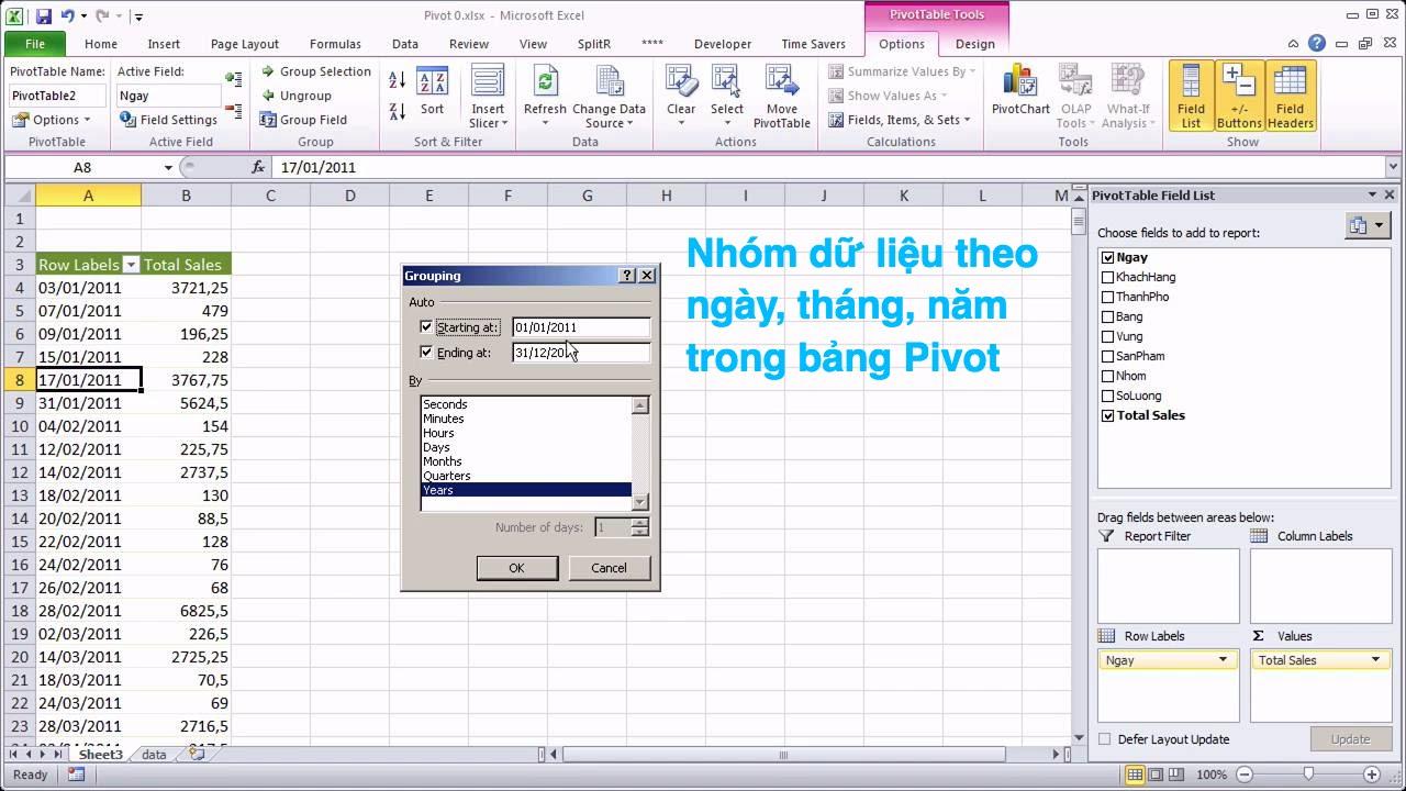 Pivot #12 Nhóm dữ liệu theo ngày tháng năm