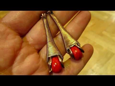 Copper Wire Wrapped Howlite Earrings by DeeArtist, 2018