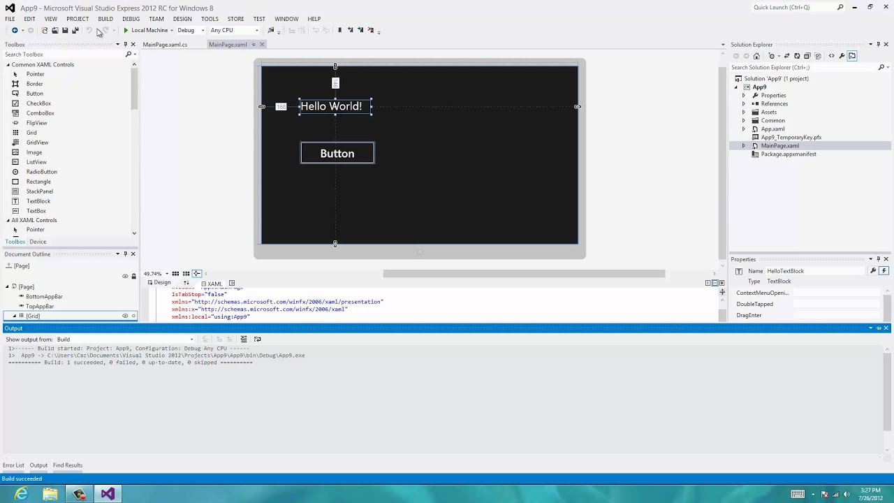 Tutorial 4: Button and Event Handler for C# in Windows 8