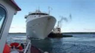liners leaving hatston pier kirkwall orkney