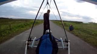 Старт с тележки  Сумино 2016.  Hanggliding. Trolley launch.(Старт дельтаплана с тележки в штиль. высота затяжки 550 м. Санкт-Петербург., 2016-09-04T23:14:23.000Z)