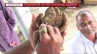 Nizamabad Man Making Ganesh Statues With Cow Dung  Telugu News