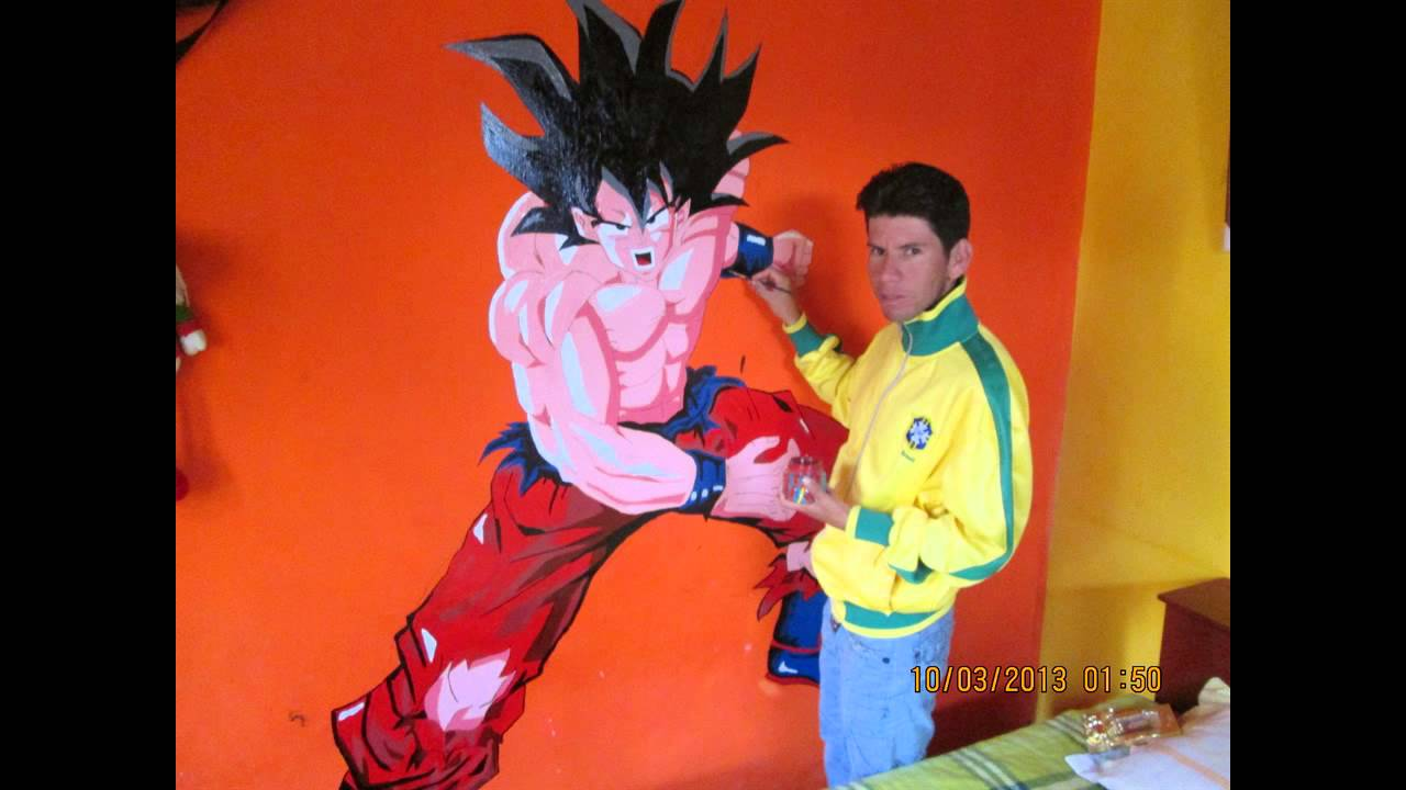 dibujando ah goku en la pared  YouTube