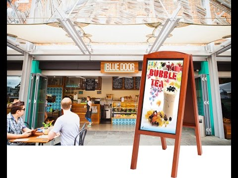 27 Inch Full HD Sign Advertising Board, Android/OS, Wooden A-Board, iOS + Android App