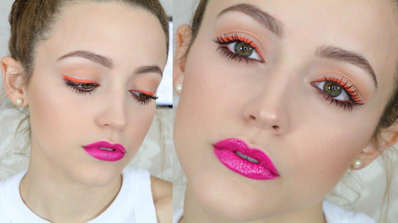 Hot Pink Orange Affordable Makeup Tutorial Talk Through Youtube