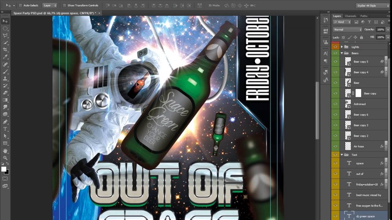 space party flyer template 4x6 youtube