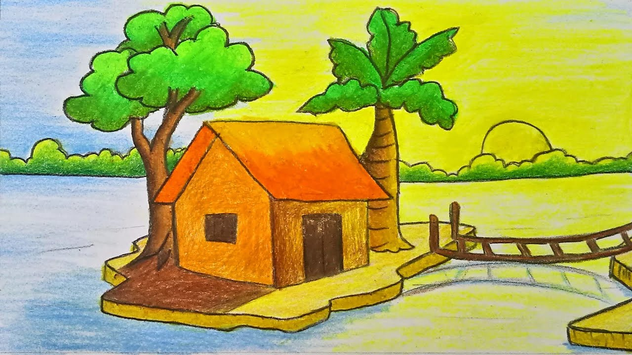 How To Draw Scenery Landscape Step By Step With Color For Kids