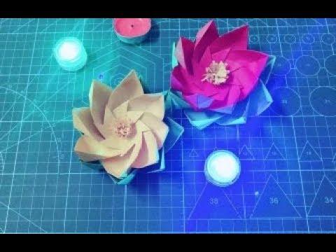 漂亮的折纸莲花,可以当作许愿灯哦,很简单手工折纸视频教程