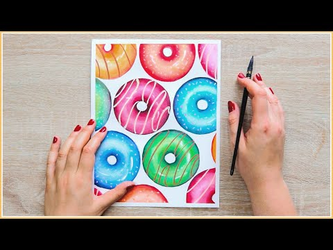 Easy Watercolor Painting Ideas How To Paint Donuts With Watercolors