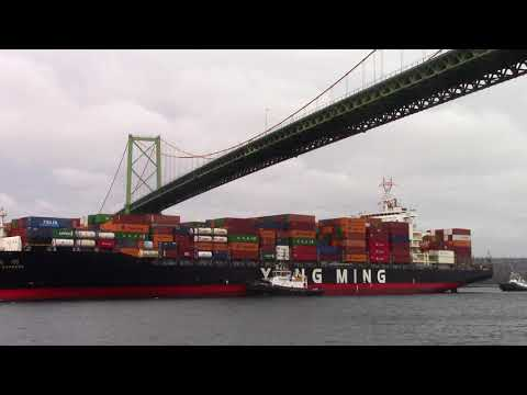 Container Ship YM EXPRESS Inbound Halifax, NS, Canada (April 16, 2018)