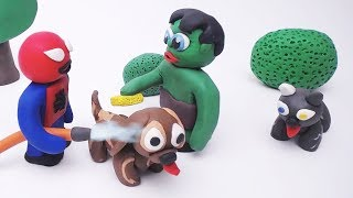 Baby Spiderman and Baby Hulk Pet Care Stop motion Video Play Doh Cartoon Movie