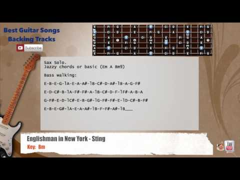 Englishman In New York - Sting Guitar Backing Track with scale, chords and lyrics