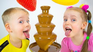 Gaby and Alex staged chocolate fountain challenge