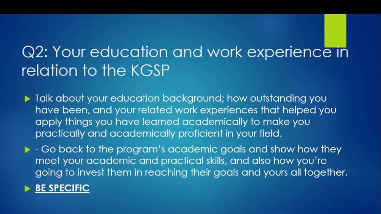 Kgsp 2018 Personal Statement Korean Government Scholarship Program Youtube Graduate Example