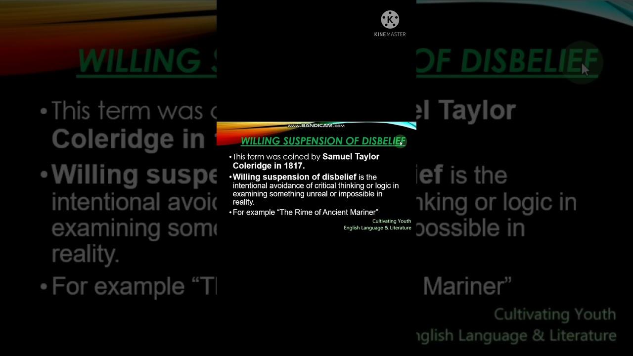 Willing Suspension of Disbelief by Samuel Taylor Coleridge ...