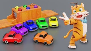 Learn Colors with Ball and Car Garage Toys Nursery Rhymes for Kids Children
