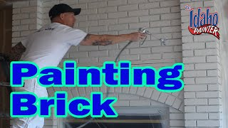 Painting A Brick Fireplace.  Hacks Painting Bricks or Concrete.  DIY How to paint bricks or stone.