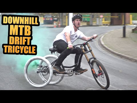 INSANE DOWNHILL MTB DRIFT TRICYCLE - KICKER RAMP SENDS AND DRIFTING