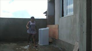 Lavando o quintal e banho no Zeus