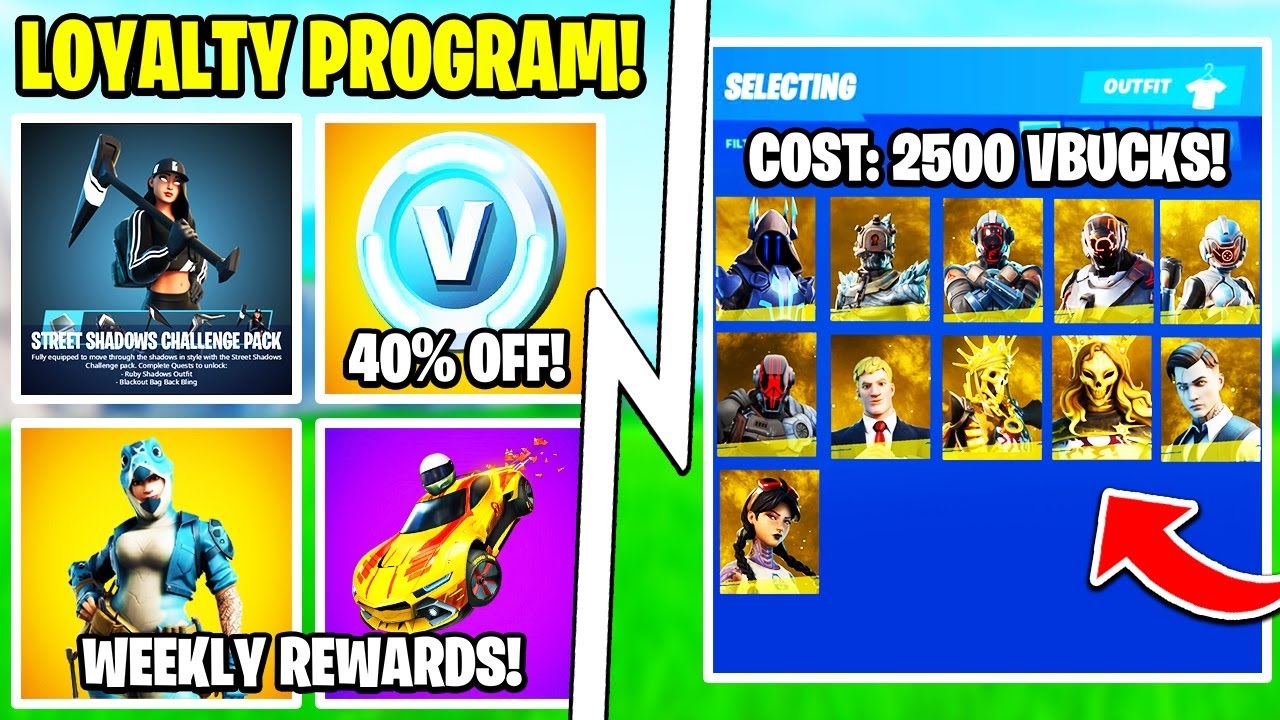 The Epic Loyalty Program, 40% OFF Vbucks, Free Items, Mythic Skins!