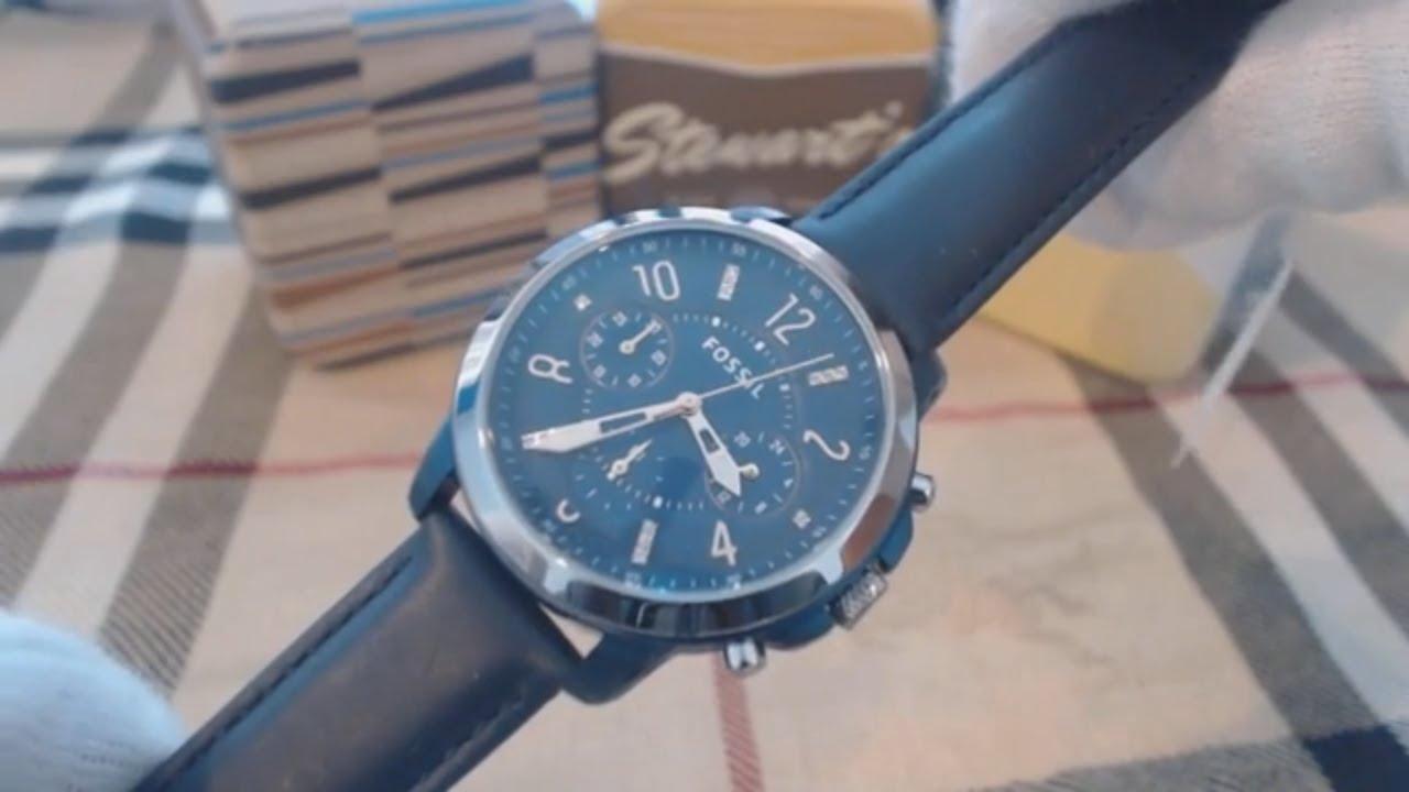 f89321285 Fossil Gwynn Blue Leather Strap Chronograph Women's Watch ES4131 by  nywatchstore