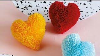 How to make #heart shape #pompom | Woolen handmade craft / home #decoration ideas