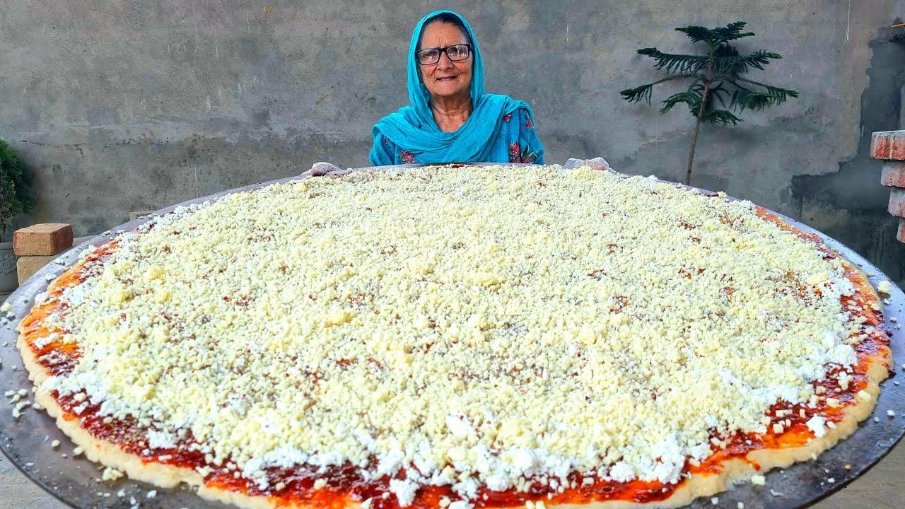 DOUBLE CHEESE PIZZA | GIANT PIZZA | PIZZA RECIPE | BIGGEST PIZZA | BY GRANDMA | VEG VILLAGE FOOD