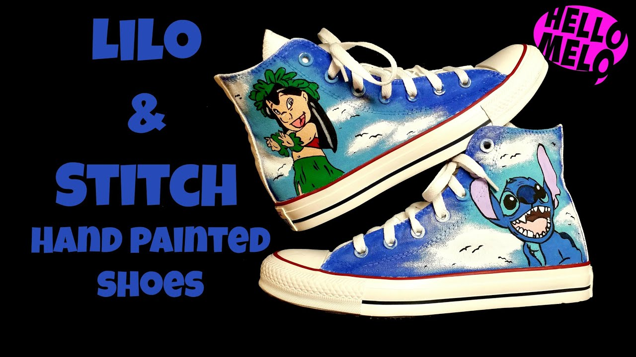 3c089a22d763 Lilo   Stitch Hand Painted Shoes - YouTube