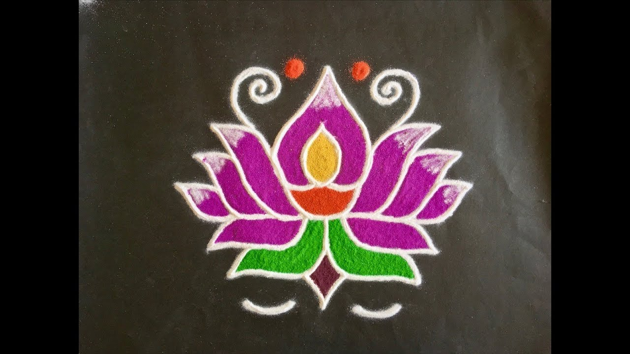 Simple lotus flower rangoli design with colours for festivals and simple lotus flower rangoli design with colours for festivals and competitions with dots 9x5 mightylinksfo