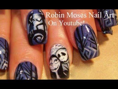 - The Nightmare Before Christmas Nail Art Design Tutorial - YouTube