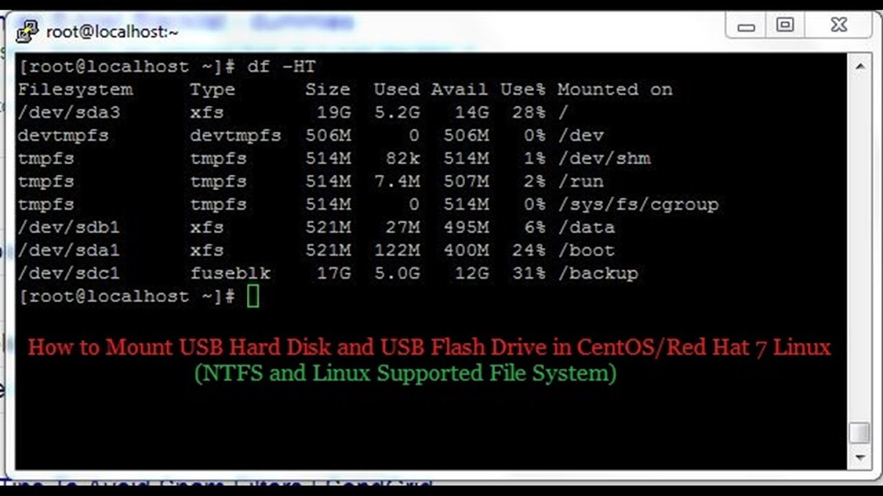 How to Mount USB Device in CentOS 7 (NTFS and Linux FS) - System Zone