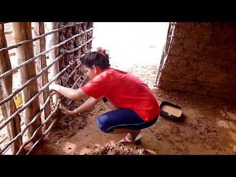 Building a mud house.