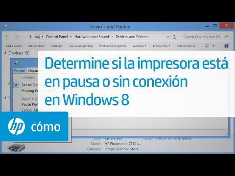 Determine si la impresora está en pausa o sin conexión en Windows 8