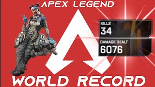 34 KILLS SOLO & 6K DAMAGE Apex Legends *NEW WORLD RECORD HOLDER*