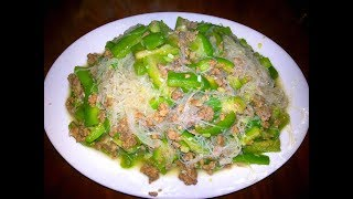 Fried Sponge Gourds With Pork And Transparent Noodles - Cambodian Food At Home
