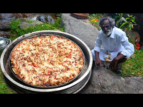 KING SIZE PIZZA 馃崟 Prepared by my Daddy Arumugam / Village food factory