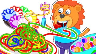 Lion Family Official Channel 🥡 Pretend Play Chinese Recipes. Rainbow Pasta | Cartoon for Kids