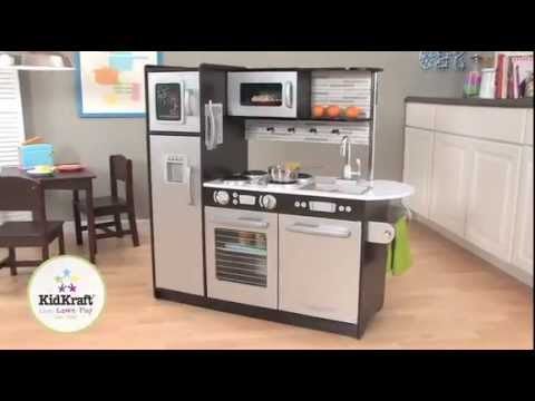 KidKraft Uptown Espresso Kitchen 53260 - Large Modern Kids Play Kitchen