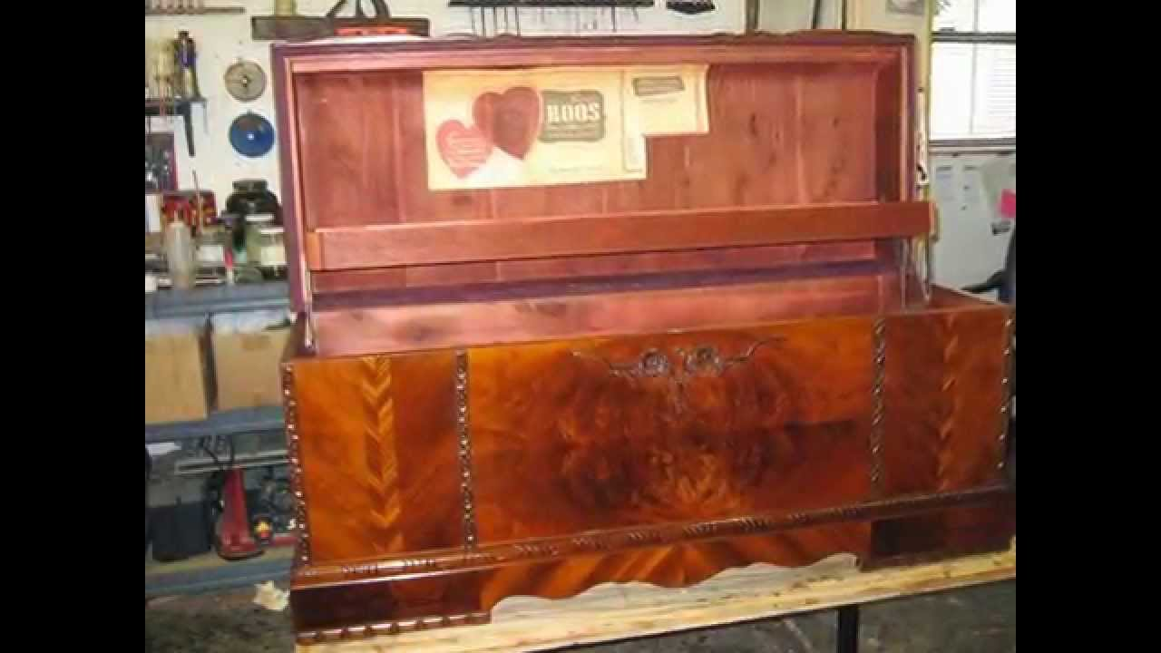 Restoration  Old Cedar Chest  Shellac Natural Finish Madadar,Naples FL    YouTube