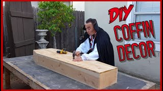 http://www.hollywoodhaunter.com/ Make coffin shaped furniture. Learn a very easy DIY way to make a life size coffin shaped shelf or