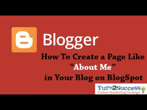 "How to Create a Pages Like ""About Me"" on Blogger Blog"