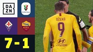 Edin Dzeko bespuckt Schiedsrichter! Fiorentina - AS Rom 7:1 | Coppa Italia | DAZN Highlights