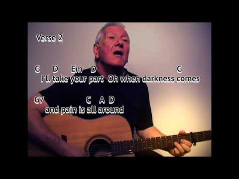 Bridge Over Troubled Water - Simon & Garfunkel - easy chord guitar lesson - on screen chords lyrics